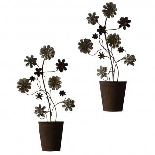 2er Set Wanddekoration H52, Wand-Deko, 61x34x4cm, Blumen