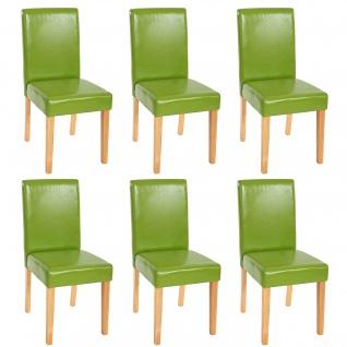 6x Esszimmerstuhl Stuhl Küchenstuhl Littau ~ Kunstleder, grün, helle Beine