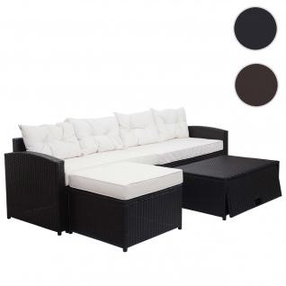 XXL Poly-Rattan Garnitur HWC-G29, Garten-/Lounge-Set Sofa Sitzgruppe, 238cm braun, Kissen creme
