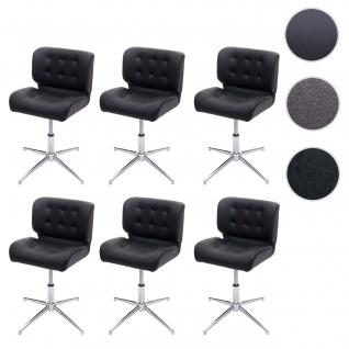 6x Esszimmerstuhl HWC-H42, Drehstuhl Küchenstuhl, höhenverstellbar drehbar ~ Kunstleder schwarz, Chromfuß