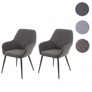 2x Esszimmerstuhl HWC-D35, Stuhl Küchenstuhl, Stoff/Textil Retro ~ dunkelgrau