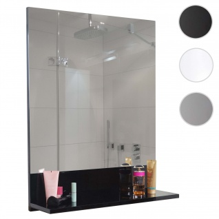 Wandspiegel mit Ablage HWC-B19, Badspiegel Badezimmer, hochglanz 75x60cm schwarz