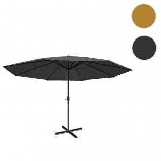 Sonnenschirm Meran Pro, Gastronomie Marktschirm ohne Volant Ø 5m Polyester/Alu 28kg ~ anthrazit ohne Ständer