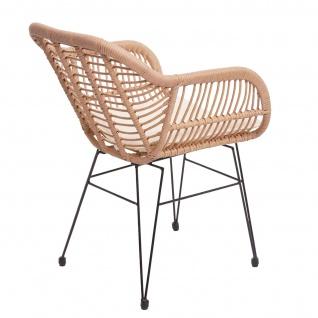 Poly-Rattan Garnitur HWC-G17, Balkon-Set Gartengarnitur Sitzgarnitur Sitzgruppe Stuhl ~ naturfarben, Kissen creme - Vorschau 4