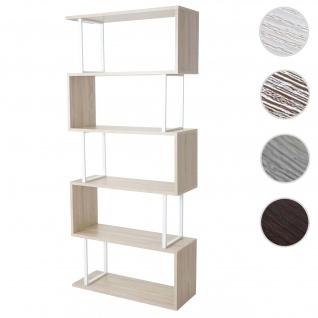 Bücherregal HWC-A27, Standregal Wohnregal, 183x80cm 3D-Struktur 5 Ebenen ~ Eiche-Optik, Metall weiß