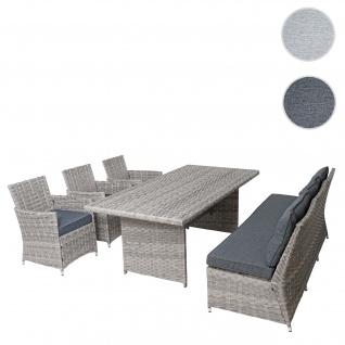 Poly-Rattan Sitzgruppe HWC-G59, Gartengarnitur Sofa Lounge-Set, 200x100cm ~ grau, Kissen dunkelgrau