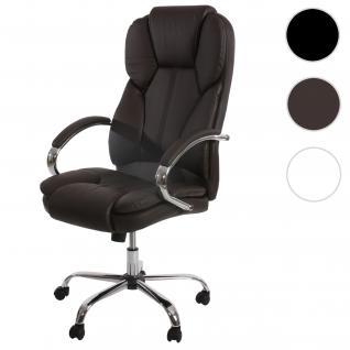 Profi-Bürostuhl Kansas XXL Chefsessel Drehstuhl US-Version, 150kg belastbar, Kunstleder braun