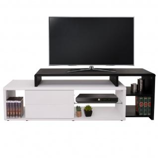 TV-Rack HWC-B91, Lowboard Fernsehtisch mit Schubladen, schwarz weiß 49x151x40cm