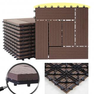 WPC Bodenfliese Rhone, Holzoptik Balkon/Terrasse, 11x je 30x30cm = 1qm ~ Premium, coffee versetzt - Vorschau 2