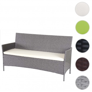 3-Sitzer Poly-Rattan Gartenbank Halden, Sitzbank ~ grau, Kissen creme