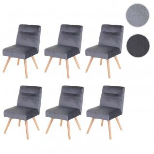 6x Esszimmerstuhl HWC-F38, Stuhl Küchenstuhl, Retro Design Samt