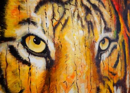 Ölgemälde Tiger, 100% handgemaltes Wandbild XL, 100x90cm - Vorschau 4