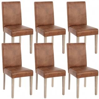 6x Esszimmerstuhl Littau, Stuhl Küchenstuhl ~ Textil, Wildlederimitat, Beine Struktur - Eiche