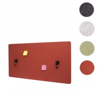 Akustik-Tischtrennwand HWC-G75, Büro-Sichtschutz Schreibtisch Pinnwand, doppelwandig Stoff/Textil ~ 120x60cm braun