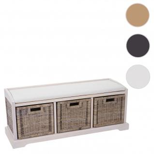 Sitzbank Bienne, Aufbewahrungsbox, 3 Körbe, Kubu-Rattan-Geflecht, 112x46x37cm ~ weiß