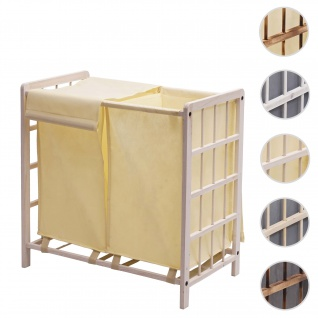 Wäschesammler HWC-B60, Laundry Wäschebox Wäschekorb, Massiv-Holz 2 Fächer 60x60x33cm 68l ~ shabby weiß, Bezug creme