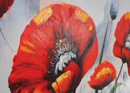 Ölgemälde Roter Mohn, 100% handgemaltes Wandbild XL, 140x70cm - Vorschau 3