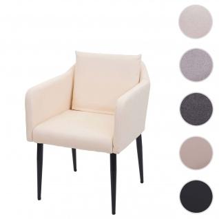 Esszimmerstuhl HWC-H93, Küchenstuhl Lehnstuhl Stuhl ~ Kunstleder creme-beige