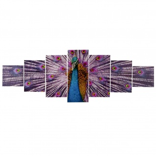 Leinwandbild T375, Kunstdruck, 7-teilig 140x50cm ~ Pfau