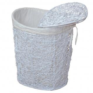 Wäschekorb H158, Wäschesammler Wäschebox Wäschetonne, 2 Stoffeinsätze, Rattan, 62x49x40cm ~ weiß