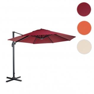 Gastronomie-Ampelschirm HWC-A96, Sonnenschirm, rund Ø 3m Polyester Alu/Stahl 23kg ~ bordeaux ohne Ständer