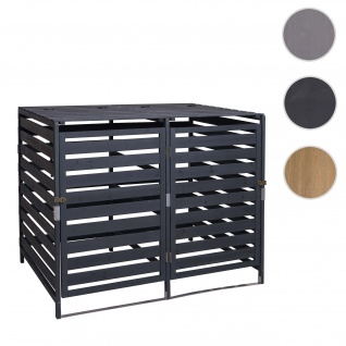 XL 2er-/4er-Mülltonnenverkleidung HWC-H62, Mülltonnenbox, erweiterbar 110x65x93cm Massiv-Holz ~ anthrazit