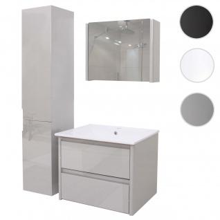 Badezimmerset HWC-B19, Waschtisch Spiegelschrank Hängeschrank, hochglanz grau