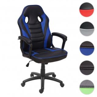 Bürostuhl HWC-F59, Schreibtischstuhl Drehstuhl Racing-Chair Gaming-Chair, Kunstleder ~ schwarz/blau