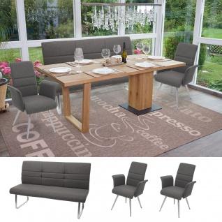 Set 2x Esszimmerstuhl+Sitzbank HWC-G55, Bank Küchenstuhl Stuhl+Armlehne, Stoff/Textil Edelstahl ~ grau-braun Bank 160cm