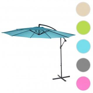 Ampelschirm Acerra, Sonnenschirm Sonnenschutz, Ø 3m neigbar, Polyester/Stahl 11kg ~ türkis-blau ohne Ständer