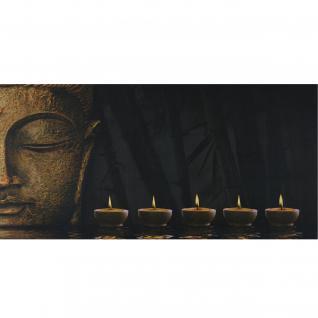 LED-Bild, Leinwandbild Leuchtbild Wandbild, Timer ~ 110x55cm Buddha, flackernd
