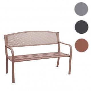 Gartenbank HWC-F52, Bank Parkbank Sitzbank, 2-Sitzer pulverbeschichteter Stahl ~ braun
