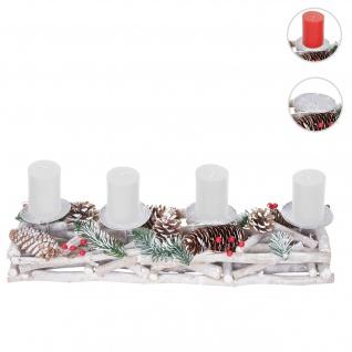 Adventskranz länglich, Weihnachtsdeko Adventsgesteck, Holz 11x15x50cm weiß-grau ~ mit Kerzen, weiß