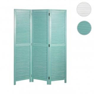 Paravent HWC-C30, Raumteiler Trennwand Sichtschutz, Shabby-Look Vintage, 170x120cm grün