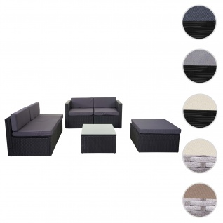 Poly-Rattan-Garnitur HWC-D24, Garten-/Lounge-Set Sofa ~ anthrazit, Polster dunkelgrau