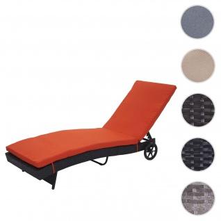 Sonnenliege HWC-D80, Gartenliege Relaxliege Liege, Poly-Rattan ~ anthrazit, Kissen terrakotta