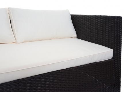 Poly-Rattan Garnitur HWC-F57, Balkon-/Garten-/Lounge-Set Sofa Sitzgruppe ~ braun, Kissen creme ohne Deko-Kissen - Vorschau 3
