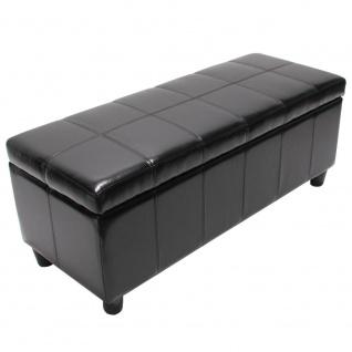 Aufbewahrungs-Truhe Sitzbank Kriens, LEDER, 112x45x45cm ~ schwarz