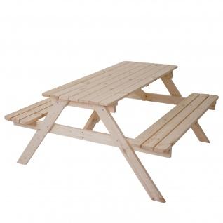 Biergarten-Garnitur Narvik, Picknick-Set, Holz Gastronomie-Qualität massiv 148x150cm