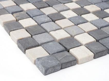 Steinfliesen Vigo T690, Marmor Naturstein-Fliese Quadrate, 11 Stück je 30x30cm = 1qm ~ grau-weiß - Vorschau 3