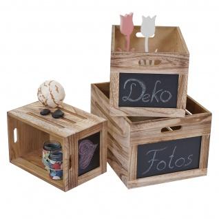 3er Set Holzkiste HWC-E11, Aufbewahrungsbox mit Tafel, Shabby-Look ~ naturbraun - Vorschau 2