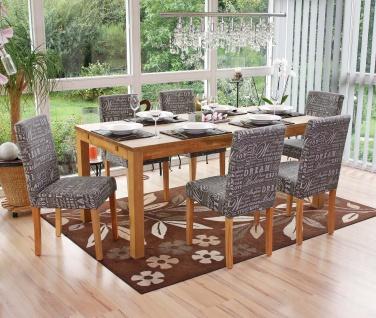 6x Esszimmerstuhl Stuhl Küchenstuhl Littau ~ Textil mit Schriftzug, grau, helle Beine