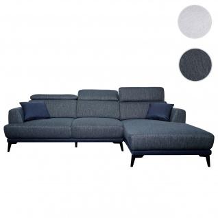 Sofa HWC-G44, Couch Ecksofa L-Form 3-Sitzer, Liegefläche Nosagfederung Taschenfederkern verstellbar ~ rechts, dunkelgrau