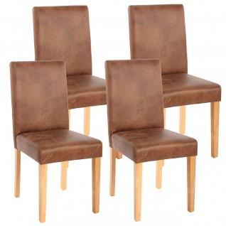 4x Esszimmerstuhl Stuhl Küchenstuhl Littau ~ Textil, Wildlederimitat, helle Beine
