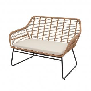 Polyrattan Garnitur HWC-G17a, Gartengarnitur Sofa Set Sitzgruppe ~ naturfarben, Polster creme ohne Dekokissen - Vorschau 3
