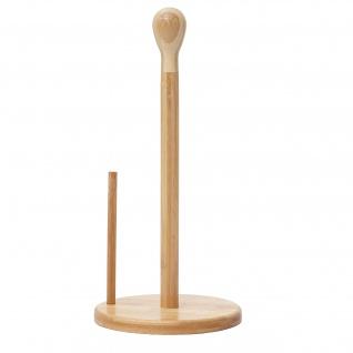 Küchenrollenhalter HWC-B84, Rollenhalter Küchenpapierständer Ständer, Bambus 34x16x16cm