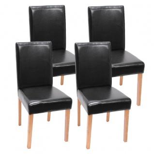 4x Esszimmerstuhl Stuhl Küchenstuhl Littau ~ Kunstleder, schwarz helle Beine