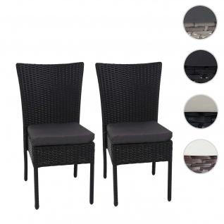 2x Poly-Rattan Stuhl HWC-G19, Balkonstuhl Gartenstuhl, stapelbar ~ schwarz, Kissen dunkelgrau