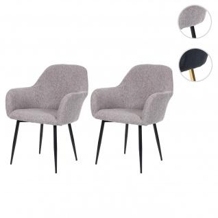 2x Esszimmerstuhl HWC-F18, Stuhl Küchenstuhl, Retro Design Stoff/Textil grau, schwarze Beine