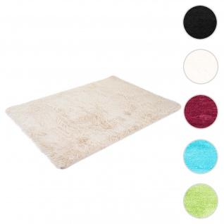 Teppich HWC-F69, Shaggy Läufer Hochflor Langflor, Stoff/Textil flauschig weich 230x160cm ~ hellbraun